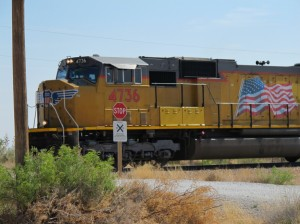 Train along the frontage road