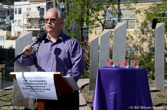 My cousin, Bill Wilson, at a ceremony he organized in San Francisco honoring the 70th anniversary of the liberation of Bergen Belsen Concentration Camp in Germany.