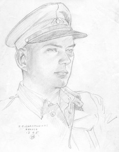 A sketch of my dad in 1945 by a fellow American Field Service volunteer, F.T. Chapman.